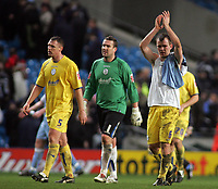 Photo: Paul Thomas.<br /> Manchester City v Sheffield Wednesday. The FA Cup. 16/01/2007.<br /> <br /> Dejected Wednesday thank their fans after the game.