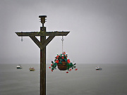 A plastic plant hangs from a stanchion on the pier at Seabeck Marina on a gloomy rainy day on the Hood Canal of Puget Sound, Washington, USA.