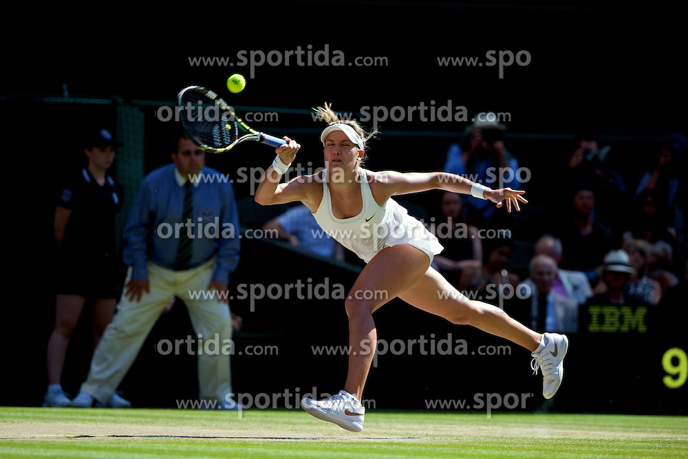 03.07.2014, All England Lawn Tennis Club, London, ENG, WTA Tour, Wimbledon, Tag 10, im Bild Eugenie Bouchard (CAN) during the Ladies' Singles Semi-Final match on day ten // during day 10 of the Wimbledon Championships at the All England Lawn Tennis Club in London, Great Britain on 2014/07/03. EXPA Pictures &copy; 2014, PhotoCredit: EXPA/ Propagandaphoto/ David Rawcliffe<br /> <br /> *****ATTENTION - OUT of ENG, GBR*****