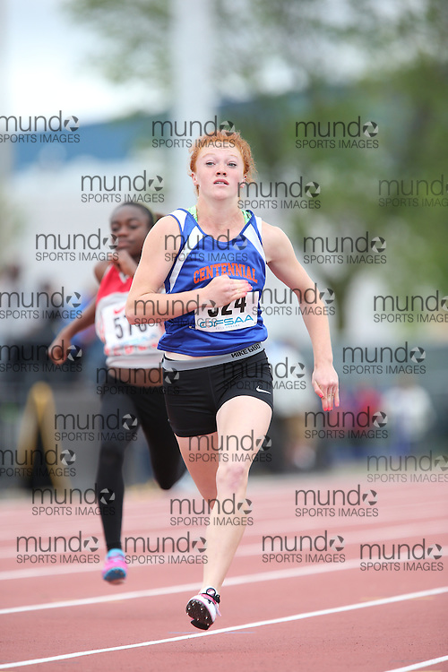 Alexis Brenzil of Centennial SS - Welland competes in the 100m heats at the 2013 OFSAA Track and Field Championship in Oshawa Ontario, Thursday,  June 6, 2013.<br /> Mundo Sport Images / Sean Burges