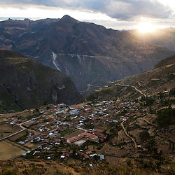 The Andean town of Coyllurqui, in Apurimac Peru. Every year Coyllurqui celebrates the Yawar Fiesta (Feast of Blood).This Peruvian tradition, that takes place annually in July during the Independence day celebrations, consists of capturing a condor and parading around town throughout the week. The highlight of the tradition is bullfighting with the condor strapped on top of the bull. For locals, the bull represents the Spanish and the condor the native population. The condor is freed in a ceremony called Cacharpari.