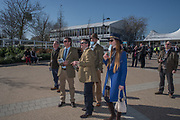 Watching the racing on a giant screen, Cheltenham races,  Ladies Day, Wednesday 15 March 2017