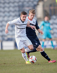Raith Rovers Lewis Vaughan and Falkirk's Stephen Kingsley.<br /> Raith Rovers 2 v 4 Falkirk, Scottish Championship game today at Starks Park.<br /> &copy; Michael Schofield.