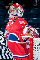 KELOWNA, CANADA -JANUARY 29: Eric Williams G #35 of the Spokane Chiefs stands in net against the Kelowna Rockets on January 29, 2014 at Prospera Place in Kelowna, British Columbia, Canada.   (Photo by Marissa Baecker/Getty Images)  *** Local Caption *** Eric Williams;