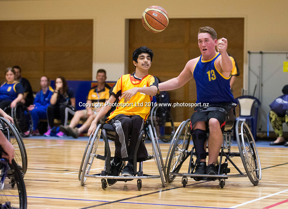Wheelchair basketball, Day 1, Halberg Junior Disability Games, St Peter's School, Cambridge, New Zealand. Friday, 22 April, 2016. Copyright photo: John Cowpland / www.photosport.nz
