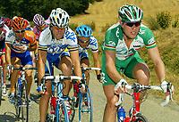 Sykkel<br /> Tour de France 2003<br /> Foto: Photo News/Digitalsport<br /> <br /> Norway Only<br /> <br /> Thor Hushovd - Norge<br /> <br /> TOULOUSE - AX-3 DOMAINES 19/07/2003<br />LAURENT BROCHARD / THOR HUSHOVD<br />13 EME ETAPE TOULOUSE - AX-3 DOMAINES (197,5 KM)<br />TOUR DE FRANCE 2003<br />PICTURE BY ERIC LALMAND<br />MOTARD : PIERRE VELAERTS<br />© Copyright PHOTO NEWS