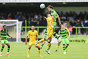 Forest Green Rovers Christian Doidge(9) out jumps Bristol Rovers Tom Lockyer during the Pre-Season Friendly match between Forest Green Rovers and Bristol Rovers at the New Lawn, Forest Green, United Kingdom on 22 July 2017. Photo by Shane Healey.