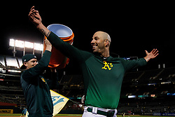 OAKLAND, CA - MAY 07: Mike Fiers #50 of the Oakland Athletics celebrates after pitching a no-hitter against the Cincinnati Reds at the Oakland Coliseum on May 7, 2019 in Oakland, California. The Oakland Athletics defeated the Cincinnati Reds 2-0. (Photo by Jason O. Watson/Getty Images) *** Local Caption *** Mike Fiers
