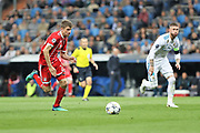 Thomas Muller (Bayern Munich) and Sergio Ramos (Real Madrid) during the UEFA Champions League, semi final, 2nd leg football match between Real Madrid and Bayern Munich on May 1, 2018 at Santiago Bernabeu stadium in Madrid, Spain - Photo Laurent Lairys / ProSportsImages / DPPI