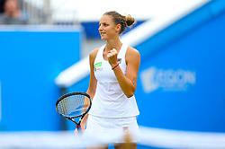 Czech Republic's Karolina Pliskova celebrates winning against Denmark's Caroline Wozniacki in the Women's Singles Final during day nine of the AEGON International at Devonshire Park, Eastbourne.