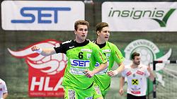 13.02.2016, BSFZ Südstadt, Maria Enzersdorf, AUT, HLA, SG INSIGNIS Handball WESTWIEN vs HSG Raiffeisen Bärnbach/Köflach, Unteres Play Off, 2. Runde, im Bild Simon Pratschner (WestWien), Sebastian Frimmel (WestWien)// during Handball League Austria, 2 nd round match between SG INSIGNIS Handball WESTWIEN and HSG Raiffeisen Bärnbach/Köflach at the BSFZ Südstadt, Maria Enzersdorf, Austria on 2016/02/13, EXPA Pictures © 2016, PhotoCredit: EXPA/ Sebastian Pucher