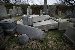 People visit the Mt. Carmel Jewish Cemetery in Northwest Philadelphia, PA, on Feb. 27, 2017. Over the weekend hundreds of headstones were vandalized.