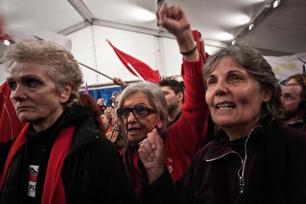 Greece, Athens, January 25th 2015 - Greeks celebrate Syriza's win in the Greek Parliamentary elections.