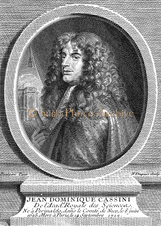 Jean-Dominique Cassini (c1670-1756) Italian-born French astronomer. First director of the Paris Observatory. Copperplate engraving 1777.  In the left background is the Paris Observatory.