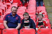 Manchester United fans during the The FA Cup semi final match between Everton and Manchester United at Wembley Stadium, London, England on 23 April 2016. Photo by Phil Duncan.