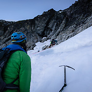 Kevin Leading his way up the first pitch of the glacier in Boston Basin