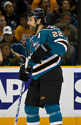 April 22, 2010; San Jose, CA, USA; San Jose Sharks defenseman Dan Boyle (22) during the first period of game five against the Colorado Avalanche in the first round of the 2010 Stanley Cup Playoffs at HP Pavilion.  San Jose defeated Colorado 5-0. Mandatory Credit: Jason O. Watson / US PRESSWIRE