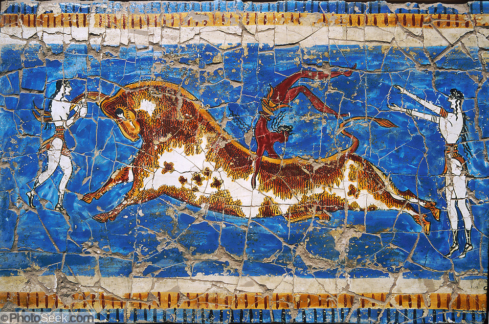 A person jumps a bull in this small modern copy of a famous Minoan art work from 1500 BC found at Knossos, Crete, Greece. The original 32-inch high fresco is in the Iraklio (or Heraklion) Archaeology Museum. Artists paint frescoes on wet plaster, which allows dyes to sink in for greater permanence, but requires the artist to paint much more quickly than on dry plaster. This affects the flow of line and style. Knossos is a Minoan archeological site associated with the Labyrinth and Minotaur of Greek mythology. The Bronze Age palace of Knossos was first built around 1900 BC, destroyed by a large earthquake or foreign invaders in 1700 BC, rebuilt more grandly, then damaged several more times by earthquakes, by invasions, and in 1450 BC by the colossal volcanic eruption of Thera (modern Thira or Santorini). Invading Mycenaeans used Knossos as their capital as they ruled the island of Crete until 1375 BC. Archaeologist Arthur Evans excavated the Palace at Knossos from 1900-1905 and named the Minoan civilization of Crete after king Minos from Greek mythology. Homer's epic poems of the Iliad and Odyssey are the first Greek literature to mention Minos as a king of Knossos, Crete. Minos was son of Zeus and Europa. Every nine years Minos made King Aegeus pick seven men and seven women to go to the Labyrinth to be eaten by the Minotaur, a creature half man and half bull. After his death, legendary Minos became a judge of the dead in Hades. The vast building complex at Knossos is popularly thought to be the site of the Labyrinth, which Greek mythology says was designed by architect Daedalus with such complexity that no one could ever find its exit.