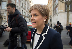 © Licensed to London News Pictures. 29/02/2016. London, UK. Leader of the SNP NICOLA STURGEON arrives at St John's Smith Square in London to deliver a speech on the EU to think-tank, Resolution Foundation. Photo credit: Ben Cawthra/LNP