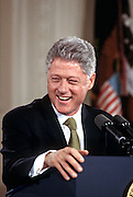 President Bill Clinton during his first press conference of year in the East Room at the White House April 30, 1998 in Washington, DC.