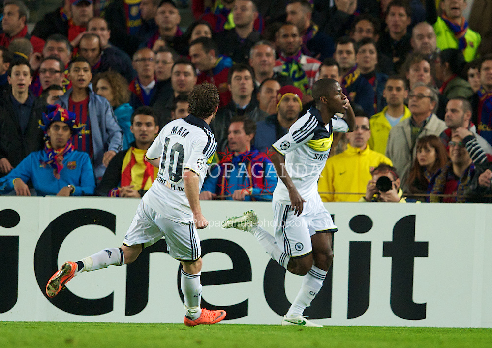 BARCELONA, SPAIN - Tuesday, April 24, 2012: Chelsea's Ramires celebrates scoring his side's first goal against FC Barcelona during the UEFA Champions League Semi-Final 2nd Leg match at the Camp Nou. (Pic by David Rawcliffe/Propaganda)