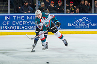KELOWNA, CANADA - JANUARY 25: Kaedan Korczak #6 of the Kelowna Rockets passes the puck against the Victoria Royals  on January 25, 2019 at Prospera Place in Kelowna, British Columbia, Canada.  (Photo by Marissa Baecker/Shoot the Breeze)