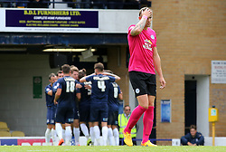 Jack Collison of Peterborough United cuts a dejected figure as Southend United score their second goal - Mandatory byline: Joe Dent/JMP - 07966386802 - 05/09/2015 - FOOTBALL - Roots Hall -Southend,England - Southend United v Peterborough United - Sky Bet League One
