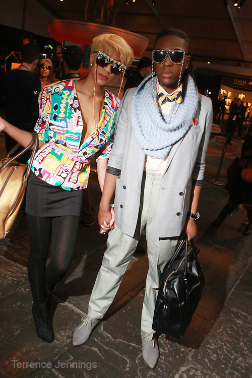 Franceleslia Millien and Kidear Youlman at the 2010 Mercedes Benz Fall Fashion Week held at Bryant Park on February 12, 2010 in New York City