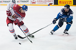 Lukas Radil of Czech Republic vs Topi Jaakola of Finland during the 2017 IIHF Men's World Championship group B Ice hockey match between National Teams of Finland and Czech Republic, on May 8, 2017 in Accorhotels Arena in Paris, France. Photo by Vid Ponikvar / Sportida