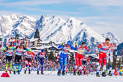 24.02.2019, Langlauf Arena, Seefeld, AUT, FIS Weltmeisterschaften Ski Nordisch, Seefeld 2019, Langlauf, Herren, Teambewerb, im Bild v.l. Richard Jouve (FRA), Iivo Niskanen (FIN), Francesco De Fabiani (ITA), Emil Iversen (NOR), Viktor Thorn (SWE) // f.l. Richard Jouve of France Iivo Niskanen of Finland Francesco De Fabiani of Italy Emil Iversen of Norway and Viktor Thorn of Sweden during the men's cross country team competition of FIS Nordic Ski World Championships 2019 at the Langlauf Arena in Seefeld, Austria on 2019/02/24. EXPA Pictures © 2019, PhotoCredit: EXPA/ Stefan Adelsberger