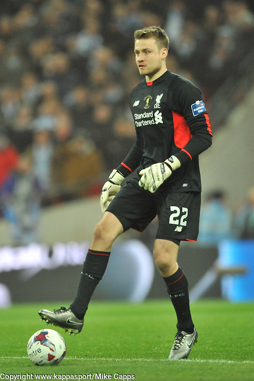 SIMON MIGNOLET  GOALKEEPER LIVERPOOL FC, Liverpool FC v Manchester City FC Capital One Cup Final, Wembley Stadium, Sunday 28th Febuary 2016