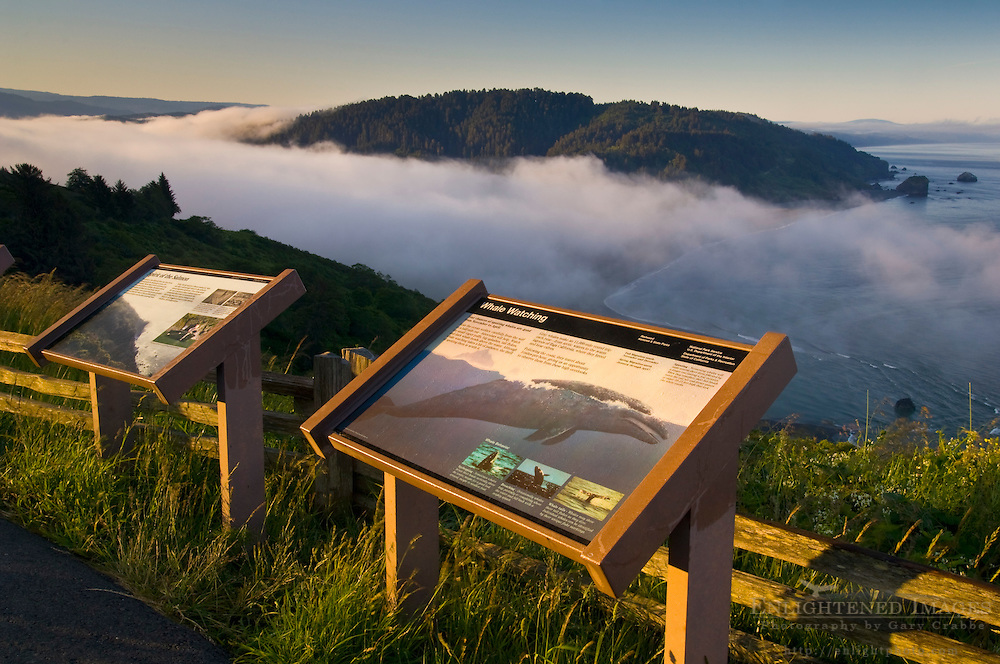 Educational information signs and coastal fog at sunrise over the mouth of the Klamath River, Redwood National Park, California