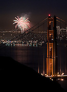 Fireworks glowed the sky over San Francisco, as seen from the Marin Headlands on Jan. 1, 2007<br />