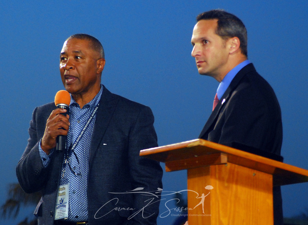 Rickey Henderson and Jeff Idelson, president of the National Baseball Hall of Fame, spoke during the dedication of the Hank Aaron Childhood Home & Museum on Thursday, April 15, 2010 at Hank Aaron Stadium in Mobile, Ala. Aaron's childhood home was relocated from the Toulminville neighborhood to the stadium. (Apex MediaWire Photo by Carmen K. Sisson)