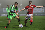 Forest Green Rovers Nathan Trueman(2) under pressure from Bristol City George Nurse(3)' during the Gloucestershire Senior Cup match between Forest Green Rovers and U23 Bristol City at the New Lawn, Forest Green, United Kingdom on 9 April 2018. Picture by Shane Healey.