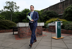 An Taoiseach Leo Varadkar after speaking to the media at Dublin Castle following the announcement of the official results of the referendum on the 8th Amendment of the Irish Constitution are announced in favour of the yes vote. Picture date: Saturday May 26, 2018. See PA story IRISH Abortion. Photo credit should read: Brian Lawless/PA Wire
