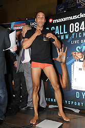 © Licensed to London News Pictures. 15/11/2013<br /> James Degale<br /> WBC Silver World Title fight weigh-in (Today 15.11.2013) between<br /> James Degale  (Orange Shorts) V  Dyah Davis (Black Shorts) <br /> Fight night at Bluewater Glow  Arena Kent on (Saturday 16th November)<br /> Photo credit :Grant Falvey/LNP