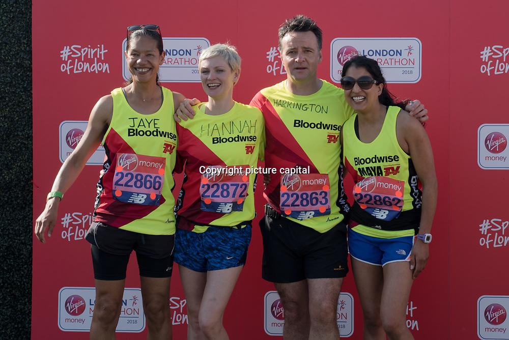 Jaye Griffiths, Richard Harrington, Hannah Daniel and Maya Sondhi at London Marathon 2018 on 22 April 2018, Blackhealth, London, UK.