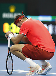 BEIJING, Oct. 7, 2018  Juan Martin del Potro of Argentina reacts during the men's final against Nikoloz Basilashvili of Georgia at the China Open tennis tournament in Beijing, capital of China on Oct. 7, 2018. (Credit Image: © Xinhua via ZUMA Wire)