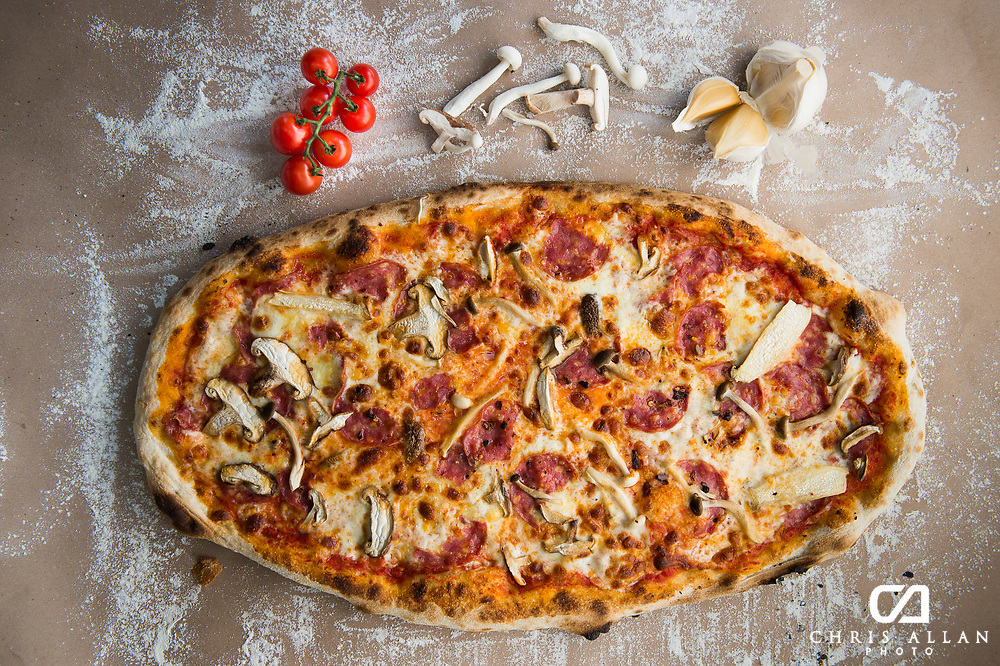 Pizza food photography for restaurant menus, shot in Johannesburg South Africa.