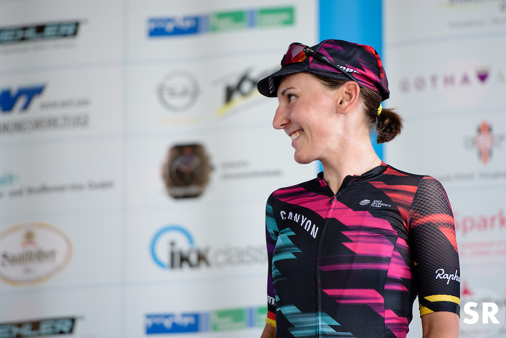 Lisa Brennauer (CANYON//SRAM Racing) waits to receive her jersey as the best placed German rider in the General Classification at Thüringen Rundfarht 2016 - Stage 6 a 130 km road race starting and finishing in Schleiz, Germany on 20th July 2016.