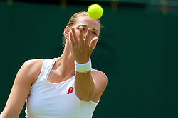 LONDON, ENGLAND - Tuesday, June 24, 2008: Eva Hrdinova (CZE) during her first round match on day two of the Wimbledon Lawn Tennis Championships at the All England Lawn Tennis and Croquet Club. (Photo by David Rawcliffe/Propaganda)