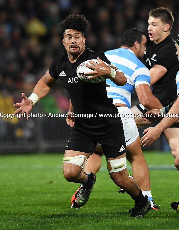 Ardie Savea.<br /> Rugby Championship test match rugby union. New Zealand All Blacks v Argentina Los Pumas, Yarrow Stadium, New Plymouth. New Zealand. Saturday 9 September 2017. &copy; Copyright photo: Andrew Cornaga / www.Photosport.nz