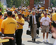 August 31 2013: Iowa Hawkeyes head coach Kirk Ferentz walks from the bus to the stadium before the start of the NCAA football game between the Northern Illinois Huskies and the Iowa Hawkeyes at Kinnick Stadium in Iowa City, Iowa on August 31, 2013. Northern Illinois defeated Iowa 30-27.