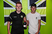 MOM Forest Green Rovers Matthew Worthington(21) with match sponsor Kerry Maintanence during the EFL Trophy match between Forest Green Rovers and Cheltenham Town at the New Lawn, Forest Green, United Kingdom on 4 September 2018.
