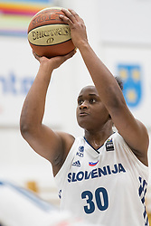 Shante Marie Evans of Slovenia during basketball match between National teams of Slovenia and Romania in 4. round of FIBA Women's EuroBasket 2019 Qualifiers, on February 14, 2018 in Dvorana Gimnazija Celje - Center, Slovenia. Photo by Urban Urbanc / Sportida