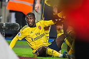 Nicolas Pepe (Arsenal) celebrates his goal 1-2 during the Premier League match between West Ham United and Arsenal at the London Stadium, London, England on 9 December 2019.