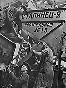 Men and women workers at a combine harvester factory, Rostov-on-Don, USSR, 1930-1940