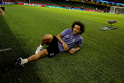 CARDIFF, WALES - Friday, June 2, 2017: Real Madrid's Marcelo after a training session ahead of the UEFA Champions League Final between Juventus FC and Real Madrid CF at the Stadium of Wales. (Pic by David Rawcliffe/Propaganda)