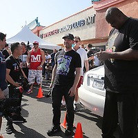LAS VEGAS, NV - APRIL 14: Bodyguards and members of the media wait outside of the Mayweather Boxing Club for WBC/WBA welterweight champion Floyd Mayweather Jr. to arrive on April 14, 2015 in Las Vegas, Nevada. Mayweather will face WBO welterweight champion Manny Pacquiao in a unification bout on May 2, 2015 in Las Vegas.  (Photo by Alex Menendez/Getty Images) *** Local Caption *** Floyd Mayweather Jr.